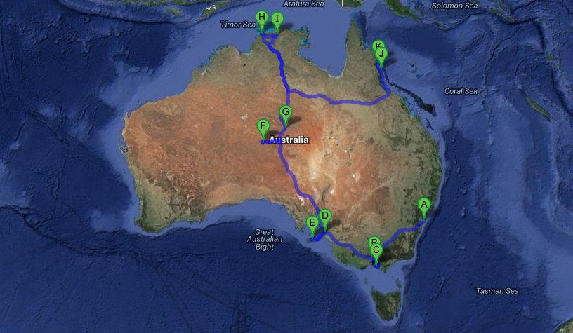 Itinearario Australia